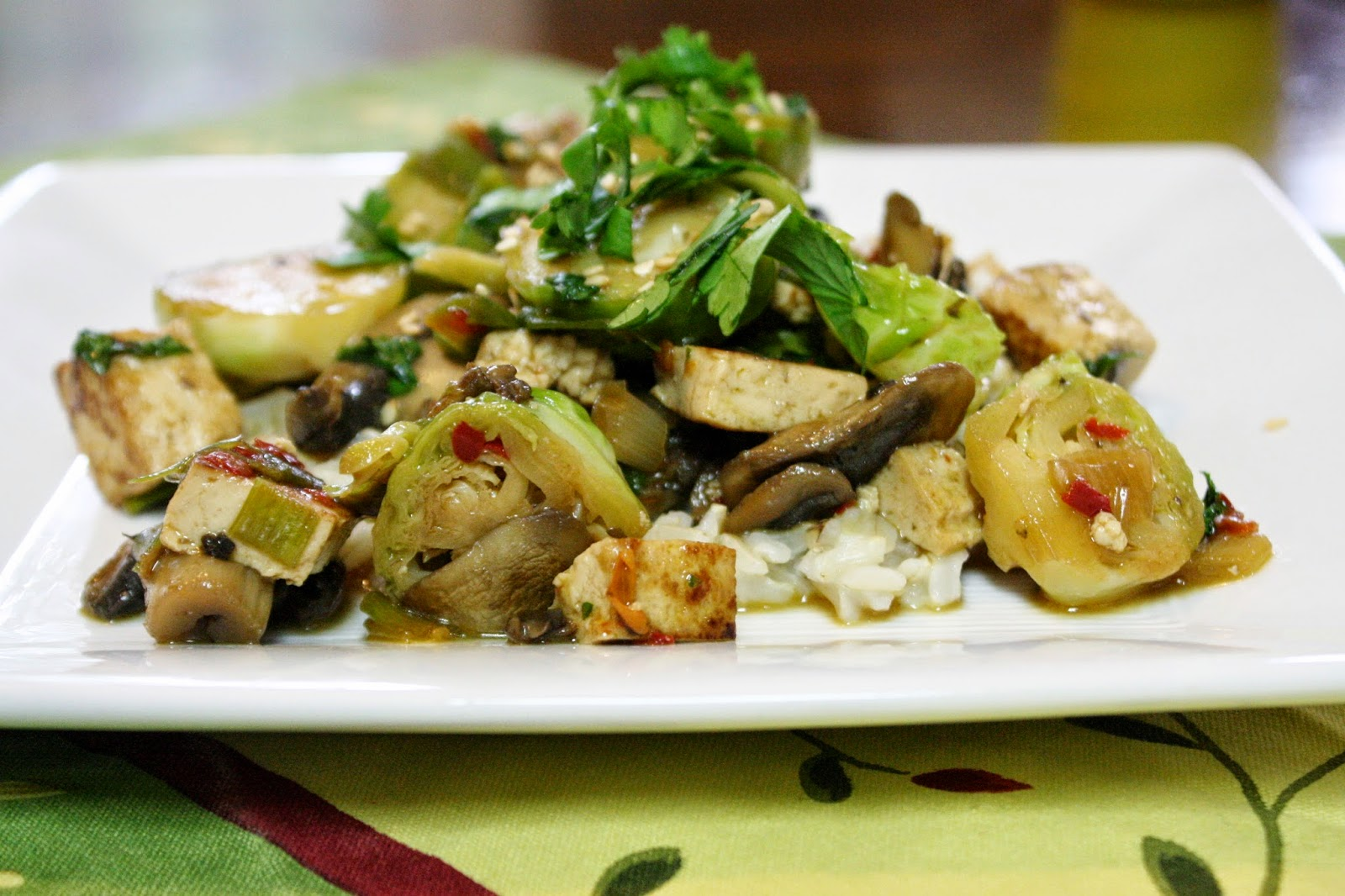 Eat.Pray.Juice.: tofu and mushrooms with szechuan brussels ...