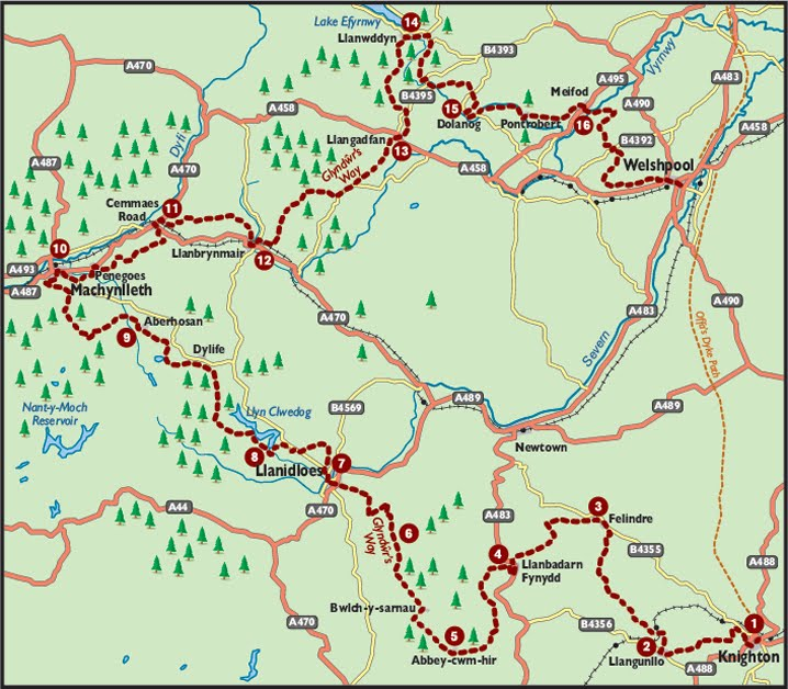Glyndwr's way - the route.