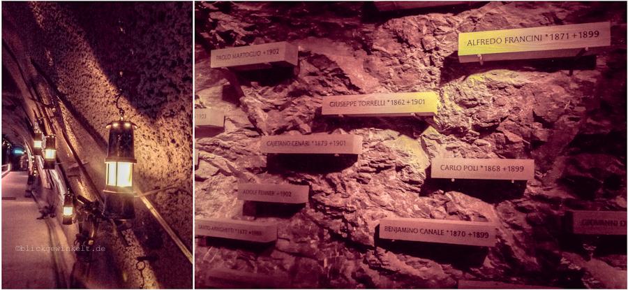 Erinnerungswand an die Arbeiter in den Tunneln