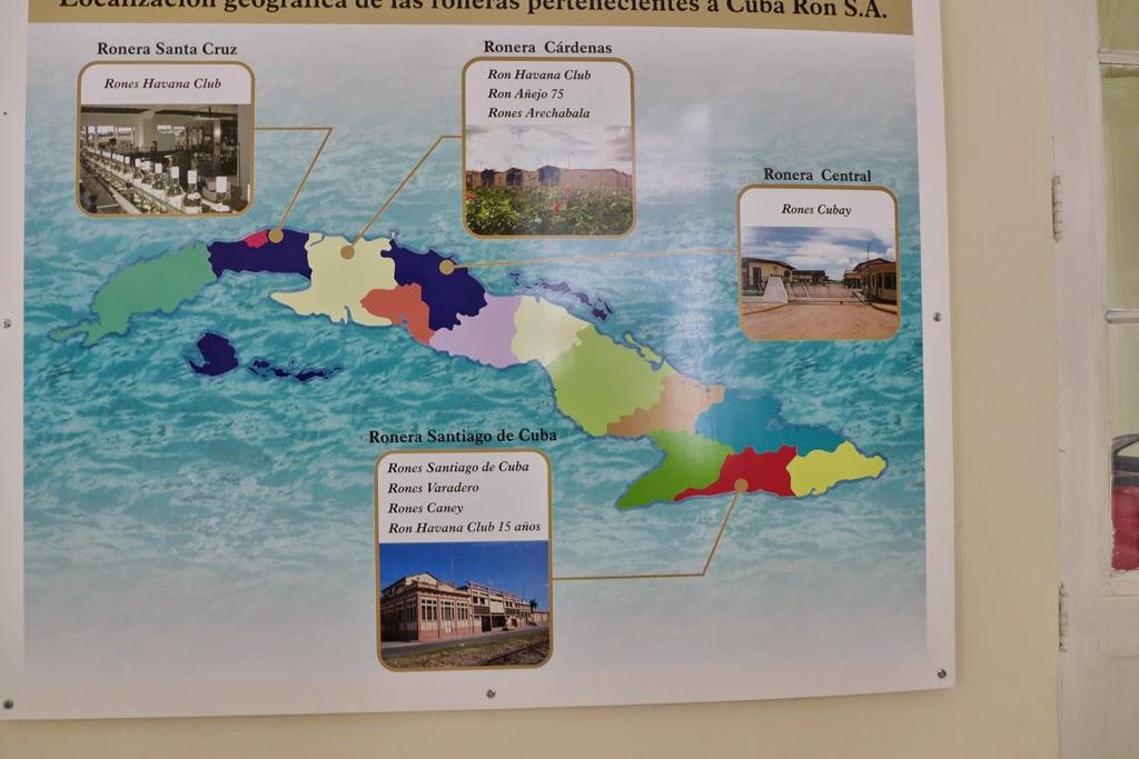 Santiago de Cuba map of rum Museo del Ron