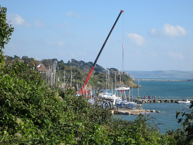 Hefty crane lifting small boats out of water for safe storage on land over winter
