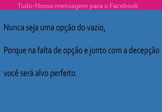 Mensagem para Facebook Tudo-Nosso