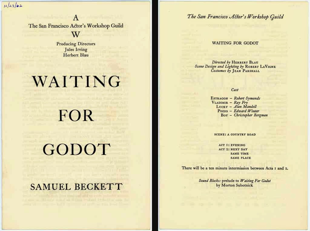 how do samuel beckett waiting for Samuel beckett's play waiting for godot is perhaps one of the most famous plays of the 20 th century the two-act tragicomedy revolves around two average country men characters, vladimir and estragon, as they wait for a mysterious man called godot the two wait by a tree on a long country road.