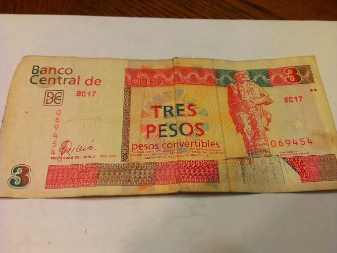 3 Cuban Pesos Convertibles Bill