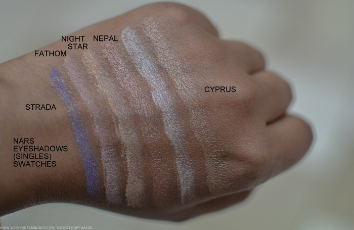 Nars Strada Fathom Night Star Nepal Cyprus Eyeshadows Swatches Indian beauty makeup blog