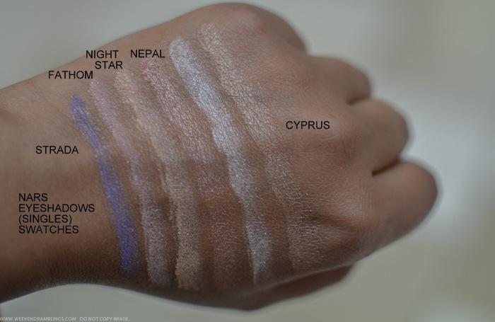Nars Strada Fathom Night Star Nepal Cyprus Eyeshadows Swatches Indian beauty makeup blog