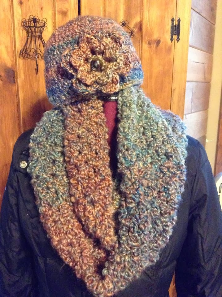 Homespun Yarn Crochet Patterns : ... Stampers Corner of Creativity: CROCHET HAT AND INFINITY SCARF SETS