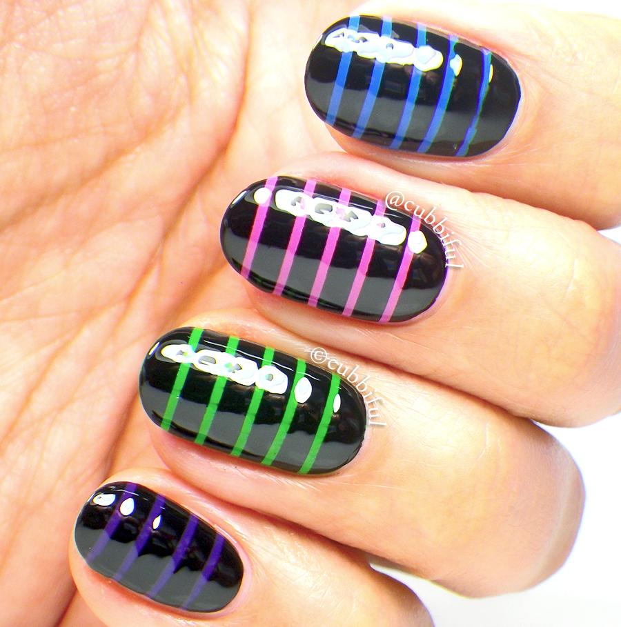 Stripe Nail Art: Cubbiful: Skittle Stripes Nail Art