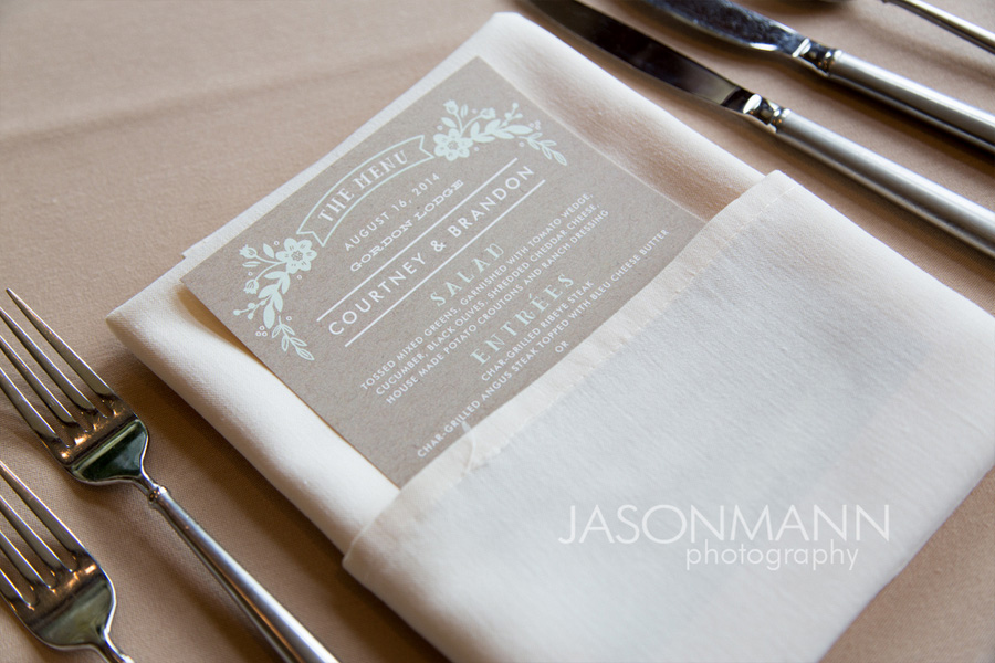 Gray and teal wedding dinner menu. Door County wedding. Photo by Jason Mann Photography, 920-246-8106, www.jmannphoto.com