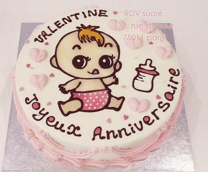 Gâteau danniversaire pour Valentine 1 an. Gâteau en chantilly 12,14 parts, , image personnalisable.