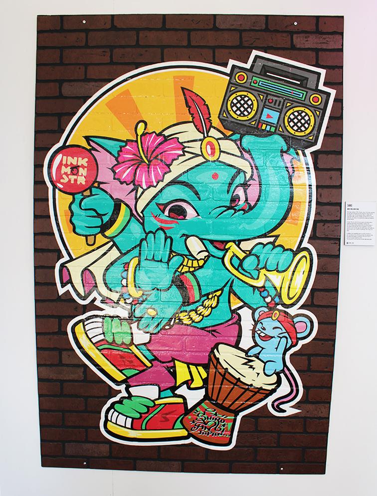 Elephant illustration by Shiro, Miami Beach Art Basel 2014