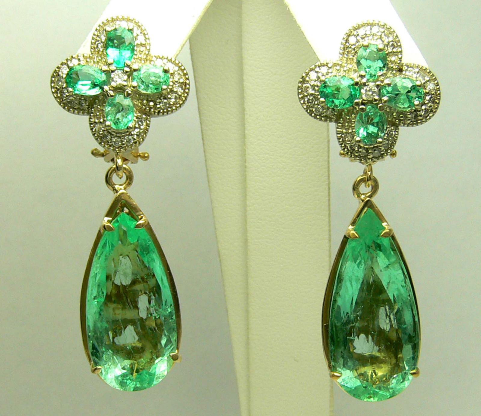 earrings designer earring natural gold mte product plated diamond gemstone jewelry emerald