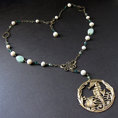 Aqua Amazonite and Pearl Seahorse Necklace