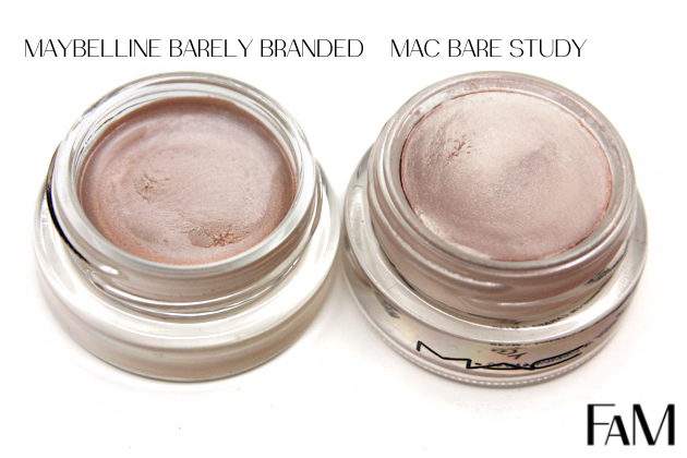 Mac Paintpot Bare Study vs. Maybelline Barely Branded Color Tattoo Metal - Review and Swatches