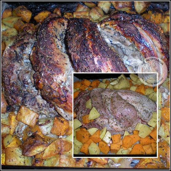Cosciotto di maialino laccato, con zucca e patate