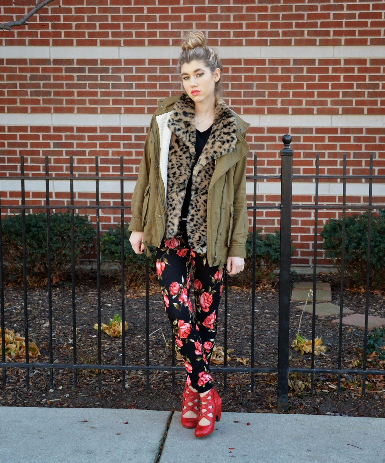 florals, fur, girl, fall fashion