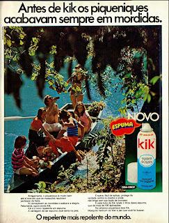propaganda repelente Kik - 1975. 1975. propaganda década de 70. Oswaldo Hernandez. anos 70. Reclame anos 70