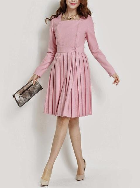 Royal Pink Long Sleeve Pleated Midi Dress