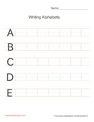 Free Printable Preschool Writing Alphabets Worksheets, Free Worksheets, Kids Writing Worksheets, Alphabets Worksheets, Preschool Writing Alphabets Worksheets, Writing Alphabets, Preschool, Kids Writing Alphabets, Uppercase Alphabets,Writing Upper Case Alphabets A-E, Writing Alphabets Worksheets