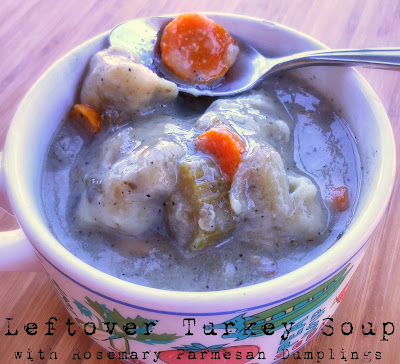 Leftover Turkey Soup with Rosemary Parmesan Dumplings