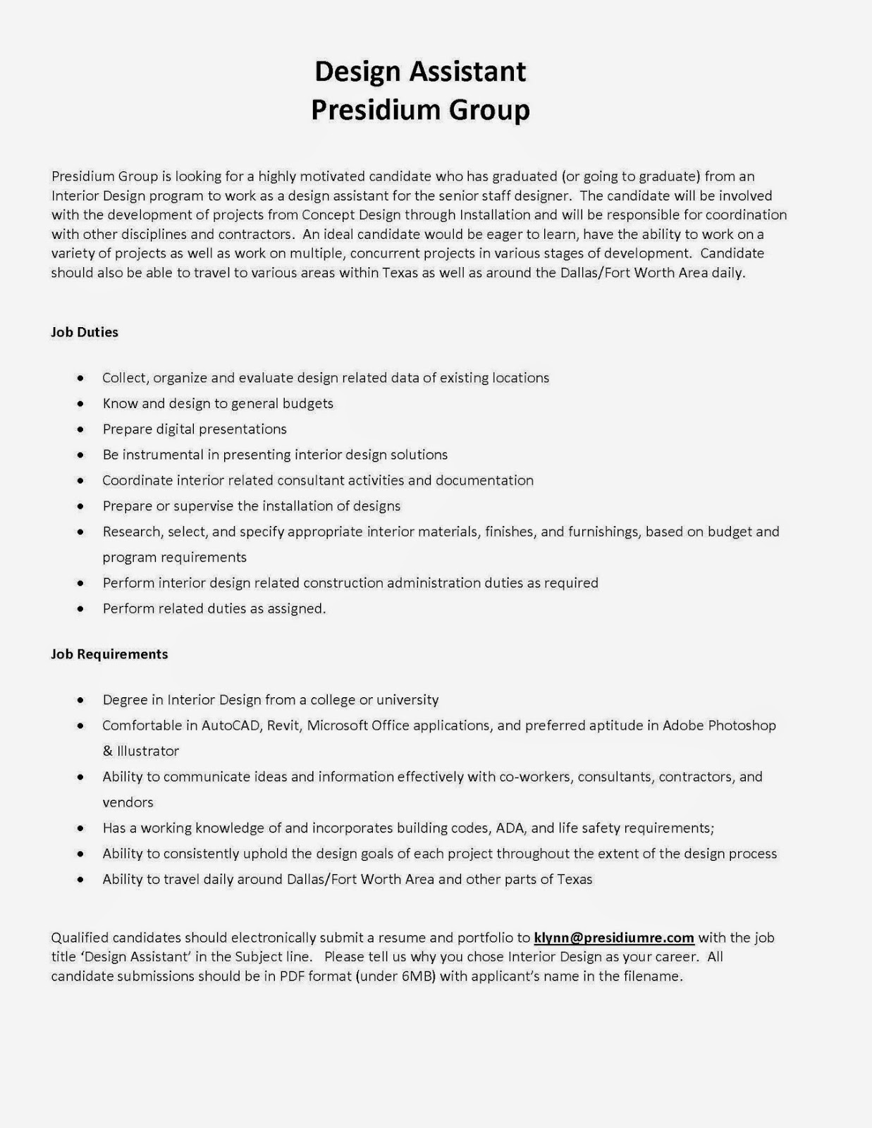 Entry Level Designer Position