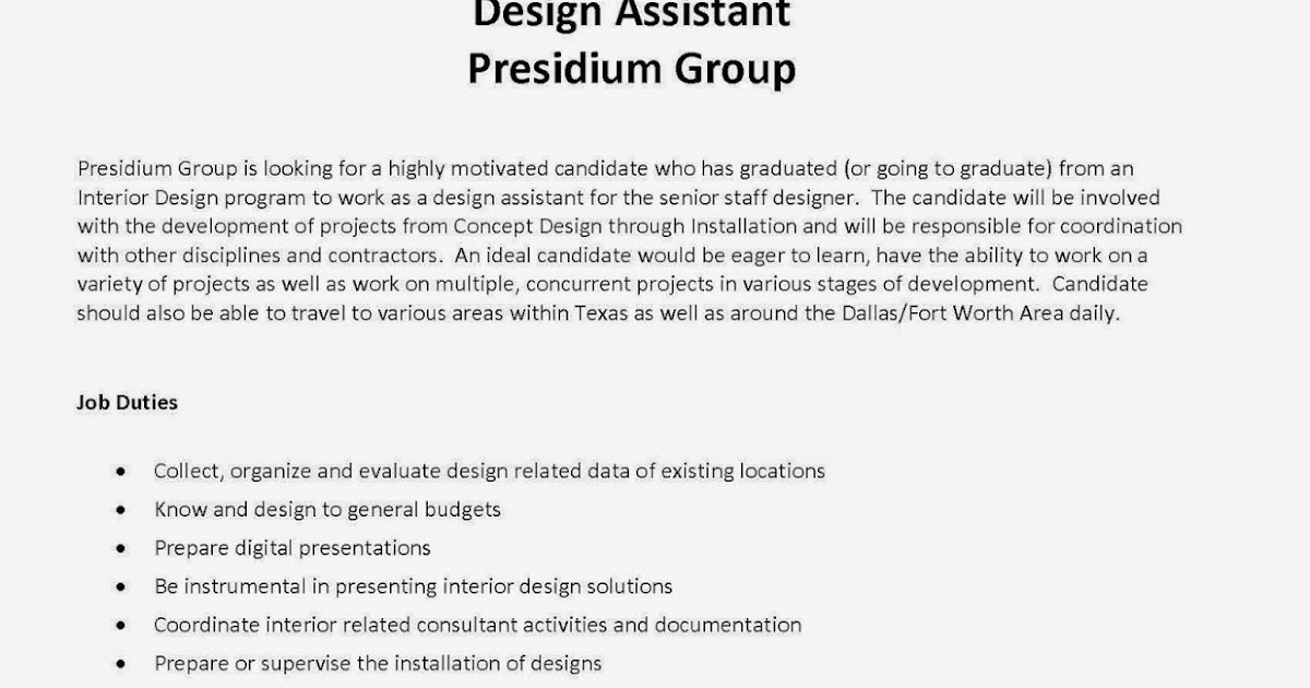 Interior Design Blog Entry Level Designer Position