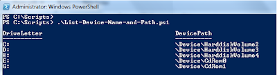Get Device Path from Device Name using Powershell script