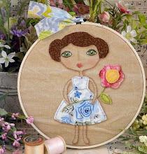Vintage garden girl pattern