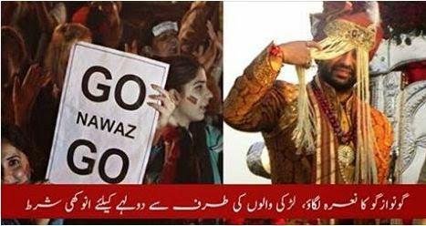 URDU NEWS, Go Nawaz Go, dullha, go nawaz go, chants, naara go nawaz go, dulha,