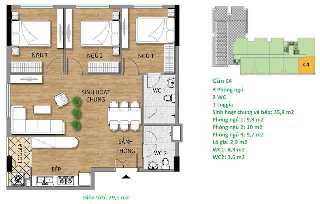 Căn hộ C4 diện tích 79,1 m2 tầng 8-9 - Valencia Garden