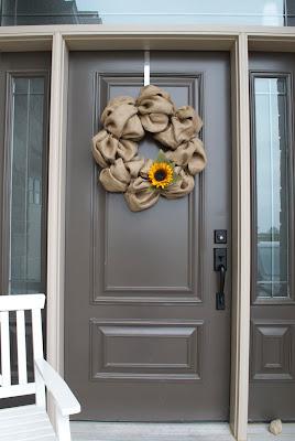 DIY Burlap Wreath On Door Away