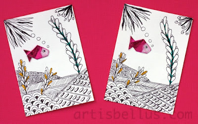 Origami Artist Trading Cards - Goldfish