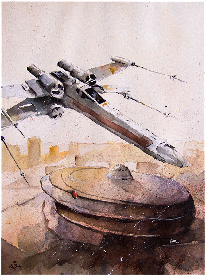 08-X-wing-Starfighter-Grzegorz-Chudy-Paintings-of-Star-Wars-worlds-in-Watercolors-www-designstack-co
