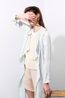 Coat, light blue, pink and white