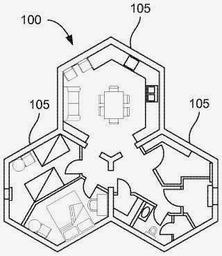 The patent search blog the hivehaus modular house for Hexagon house plans