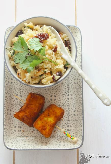 Receta de un rico cous cous con frutos secos y pollo al curry