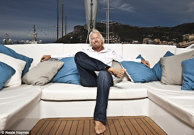 Sir Richard Branson, sitting, aboard Necker Belle (Yacht)