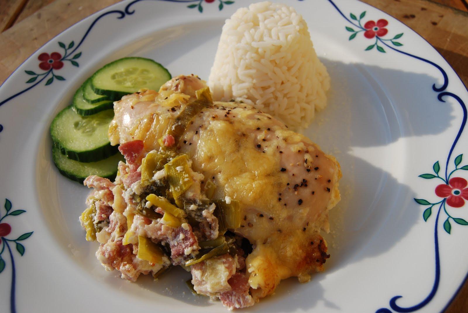 kyckling i ugn med bacon och purjolök