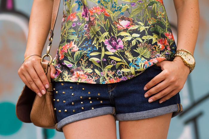 Zara Denim shorts with spikes