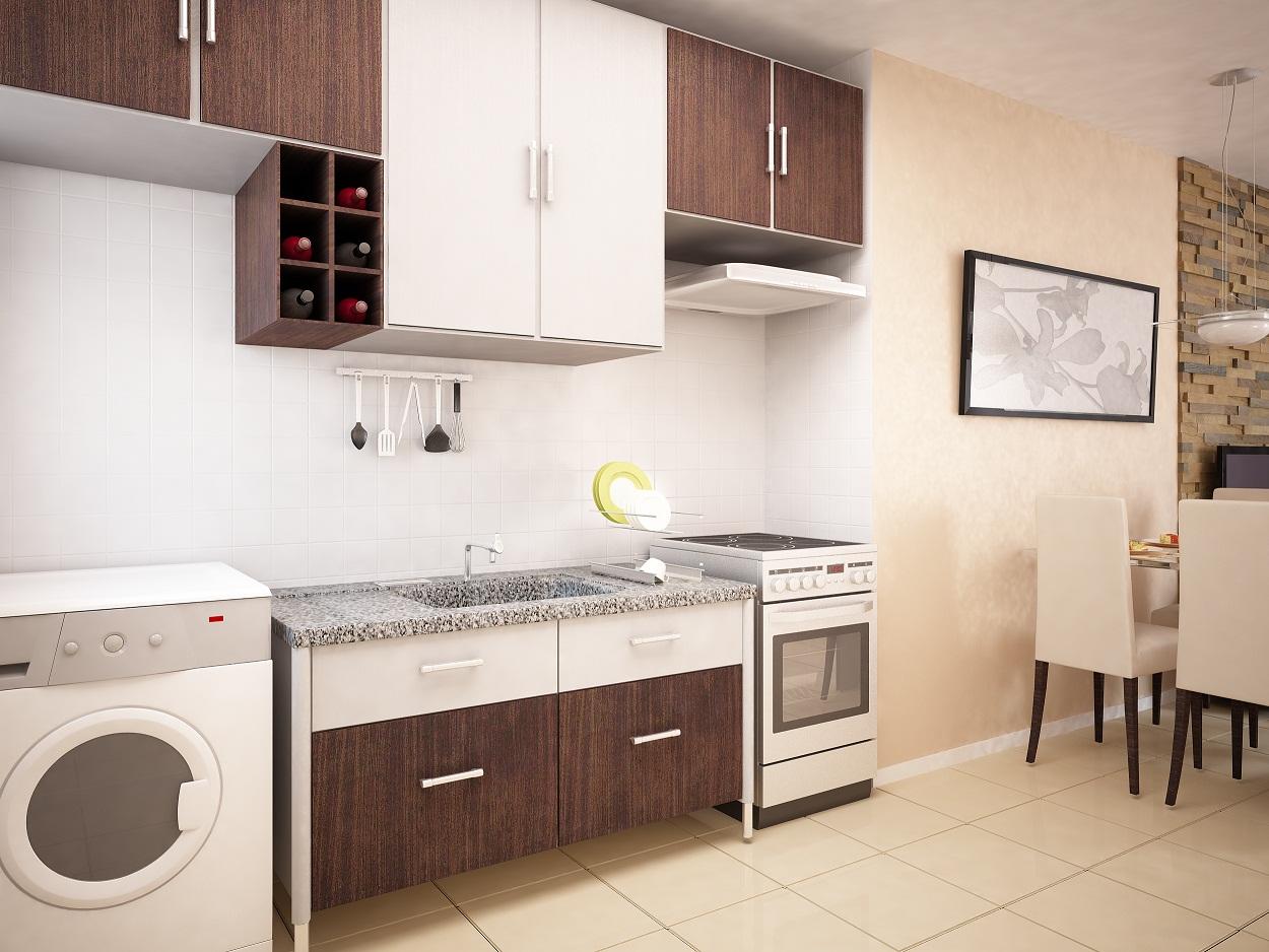 #AA2221 apartamento possui sala de estar e jantar cozinha e lavanderia  1250x938 px Projetos De Cozinha E Lavanderia Integradas #301 imagens