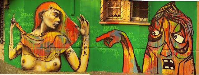 graffiti de izak y henruz en santiago de chile