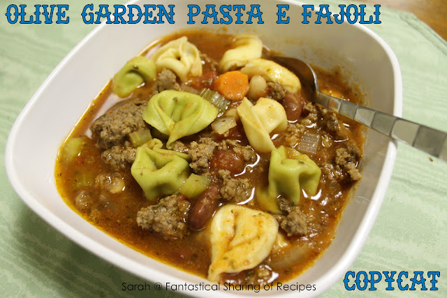 Olive Garden Pasta e Fagoli Soup. This copycat can be made in the crockpot or on the stove, with little to no effort at all. #copycat #soup #pasta #beef