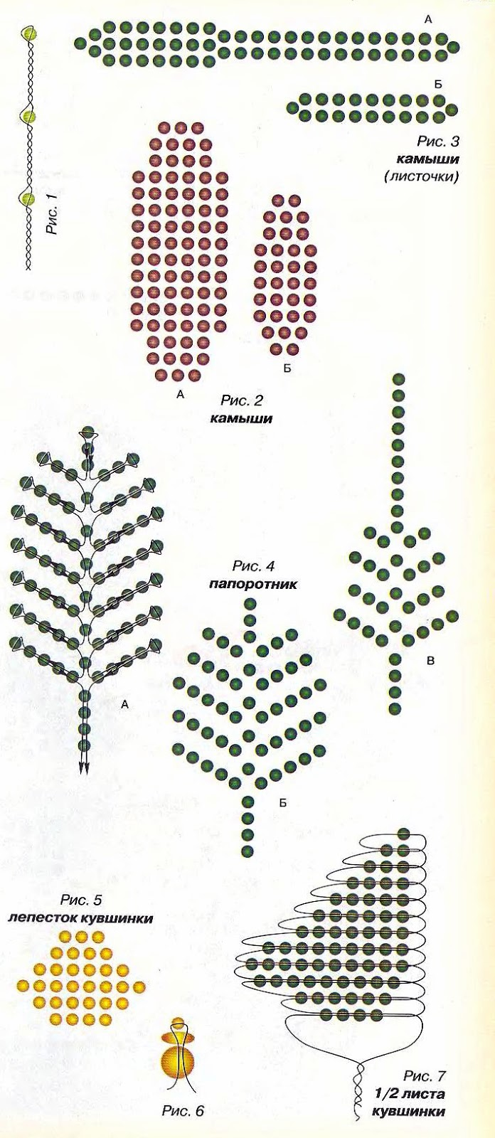 маленькая листочки зелений бисер схема