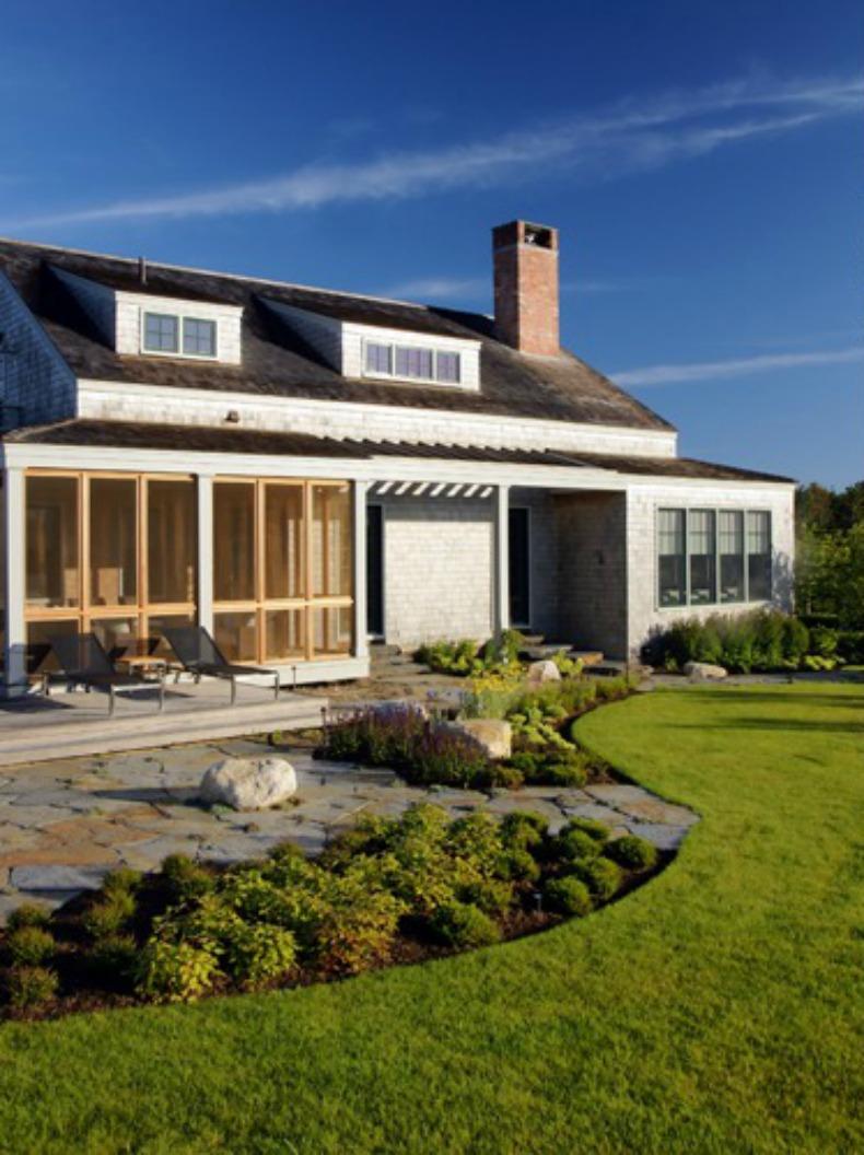Coastal Nantucket beach house backyard
