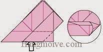 Bước 12: Từ vị trí mũi tên, mở lớp giấy trên cùng ra, kéo và gấp lớp giấy lên trên.