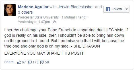 Marlene Aguilar calls Pope Francis 'evil'
