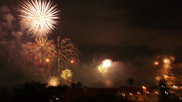 Fireworks at Funchal Bay in Madeira Island