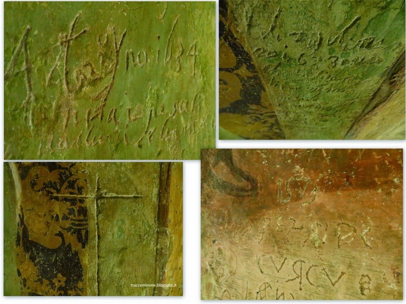 graffiti sugli affreschi di Bernardino di Mariotto
