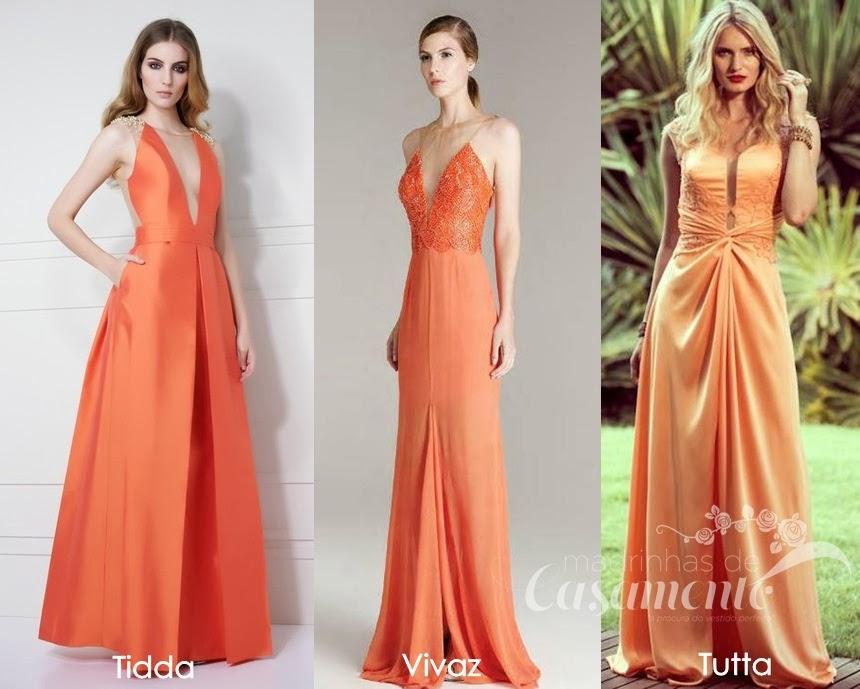 Comprar vestido longo laranja