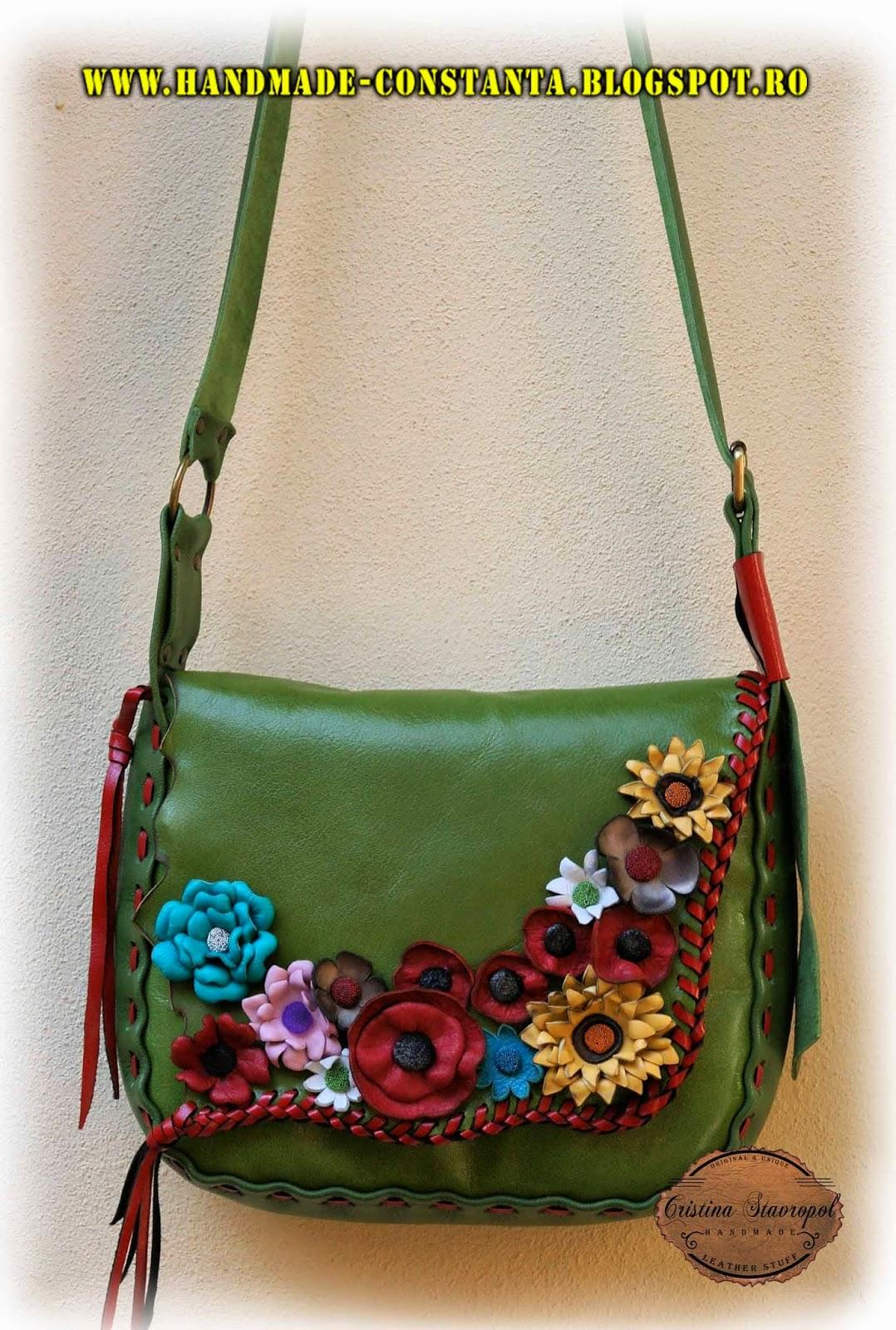 geanta din piele verde cu flori